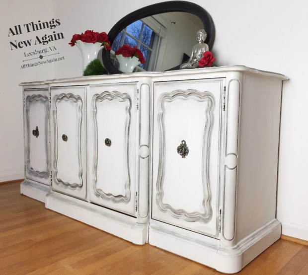 Media Console Painted White | White Media Console | White Media Credenza | Painted Furniture for Sale