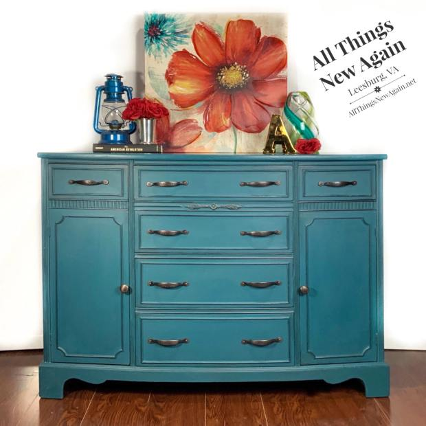 Vintage buffet painted in Dixie Belle Antebellum Blue | By All Things New Again, Leesburg VA | painted furniture