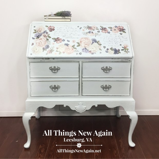 Vintage secretary desk | Painted in Dixie Belle Haint Blue | By All Things New Again, Leesburg VA