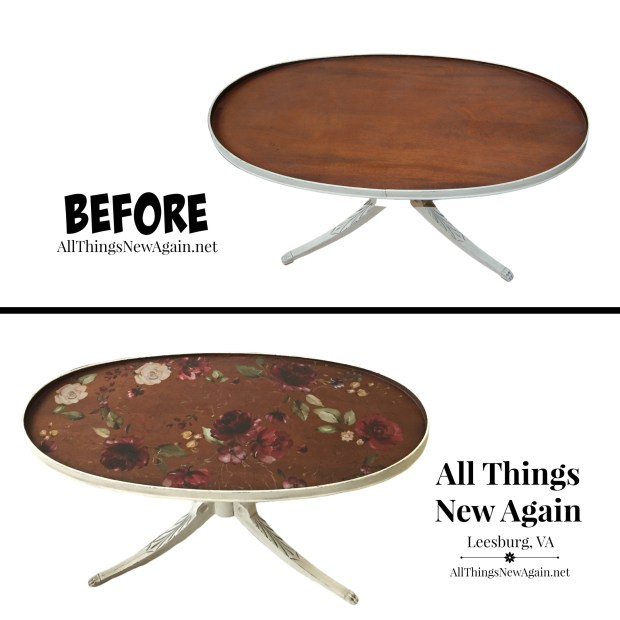 Before and After | Plain wood tabletop with furniture transfer added | Painted Furniture | ReDesign with Prima
