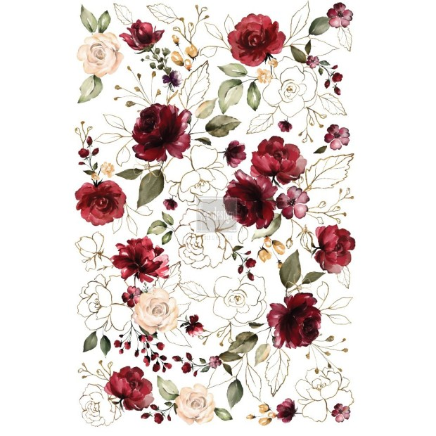ReDesign with Prima | Midnight Floral | furniture transfer | red roses and gold flowers