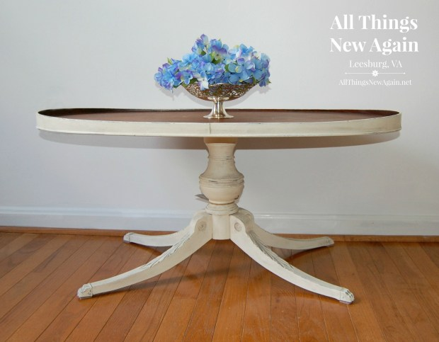 Coffee table painted white with stained top | All Things New Again | Leesburg, VA | Washington DC