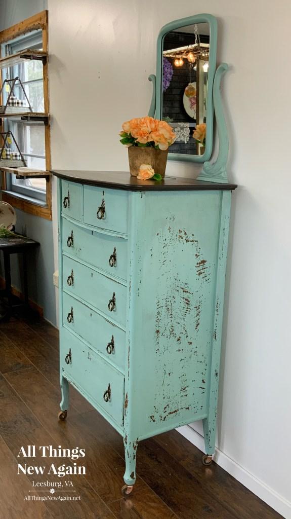 Aqua Dresser | Milk Paint Chippy Dresser | Vintage Dresser for Sale
