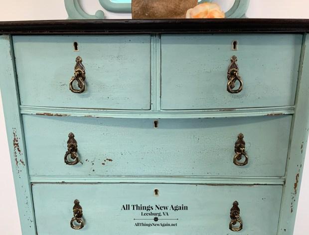 Aqua Dresser | Real Milk Paint Co. Beach Glass | Beachy Bedroom | Coastal Bedroom |