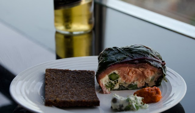 THANKSGIVING AND CHRISTMAS (Log of smoked trout wrapped in smoked salmon and silverbeet)