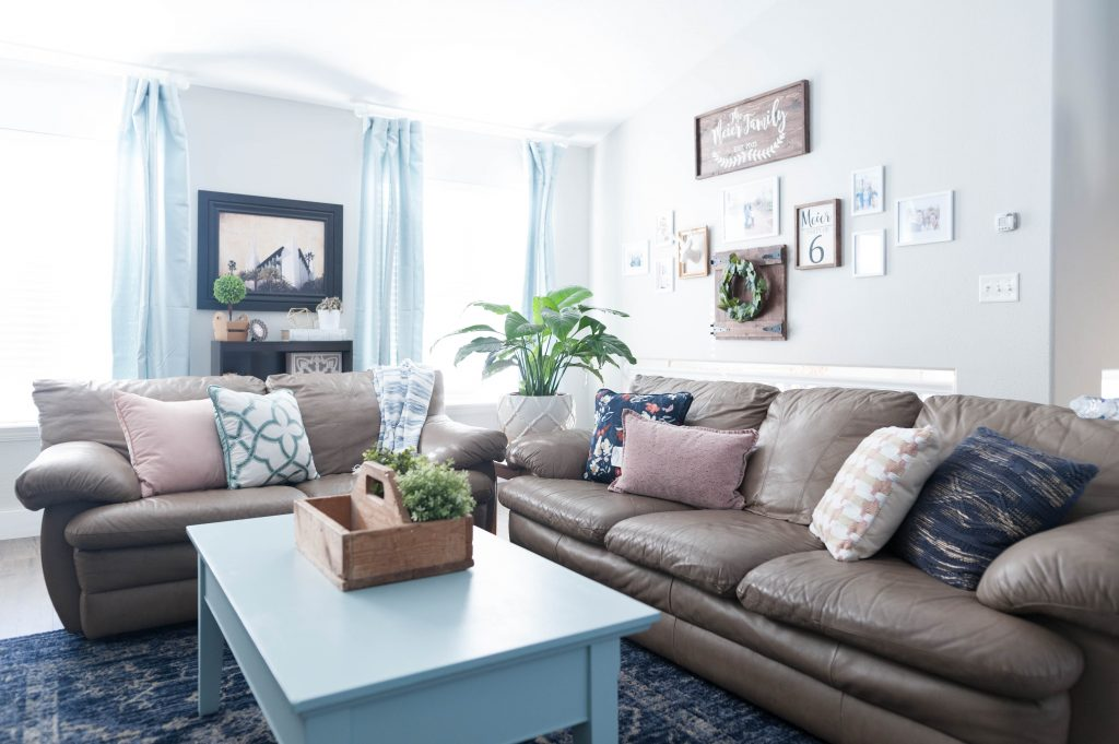 Pink, Navy Blue, And Jade Family Room Decor REVEAL: JO's HOUSE