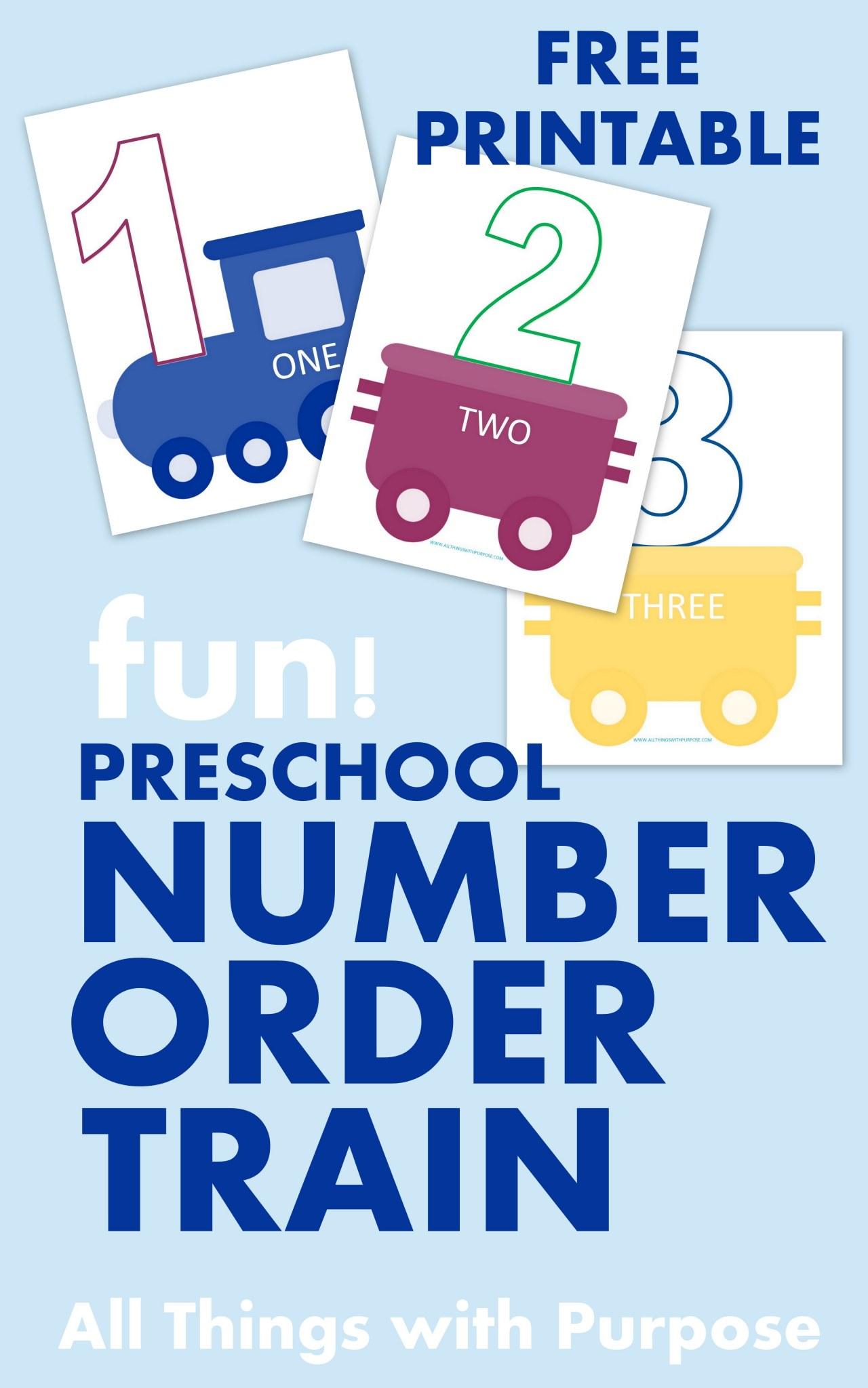 Preschool Number Recognition Train Printable