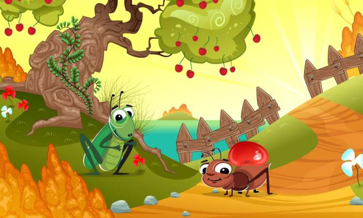 The Ant and the grasshopper short moral story