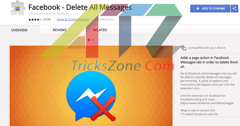 chrome extension of facebook delete all messages