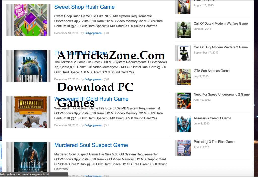 PC Games Downloader Websites