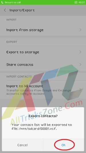 Contacts backup in Xiaomi phones