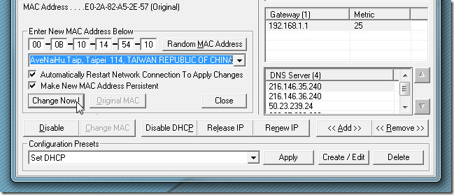 mac-address-changer with technitium