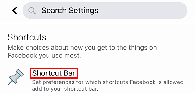 Facebook Shortcut bar Settings