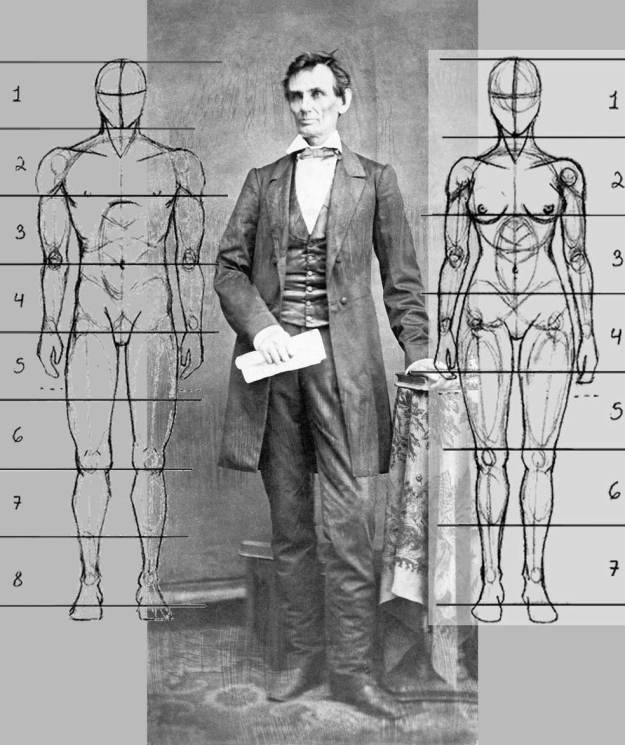 Full-length photograph of Abraham Lincoln from 1860 with proportioned models