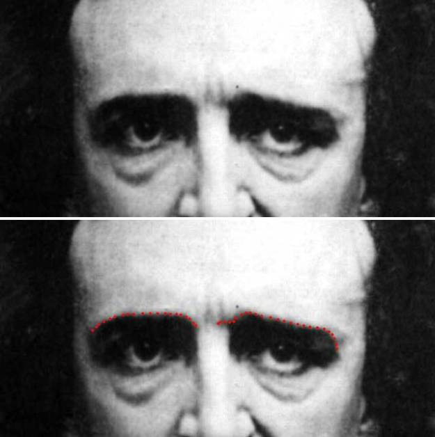'close up detail of 1848 Daguerreotype of Edgar Allan Poe