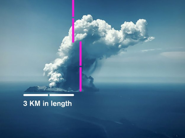 White Island Flights image of the eruption measured
