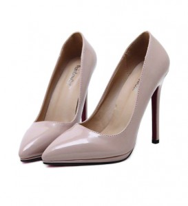 Nude Pointy PU Stiletto Heels