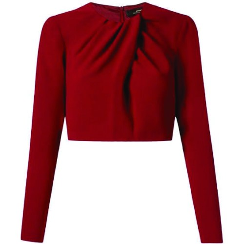 Red long sleeve cropped blouse