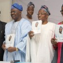 "From Left; Senator. Bode Olajumoke,Chief Launcher, Prof. Akin Mabogunje, Chairman of Occasion, Prof. Ladipo Adamolekun, Author and Mrs Jumoke Adamolekun at the Public Presentation of "" I REMEMBER"" the autobiography of Prof. Ladipo Adamolekun at NIIA, Victoria Island. Lagos. Pix By Oscar Ochiogu."
