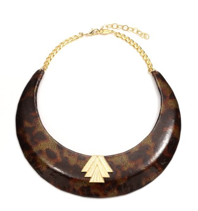 Patent leather Tortoise necklace