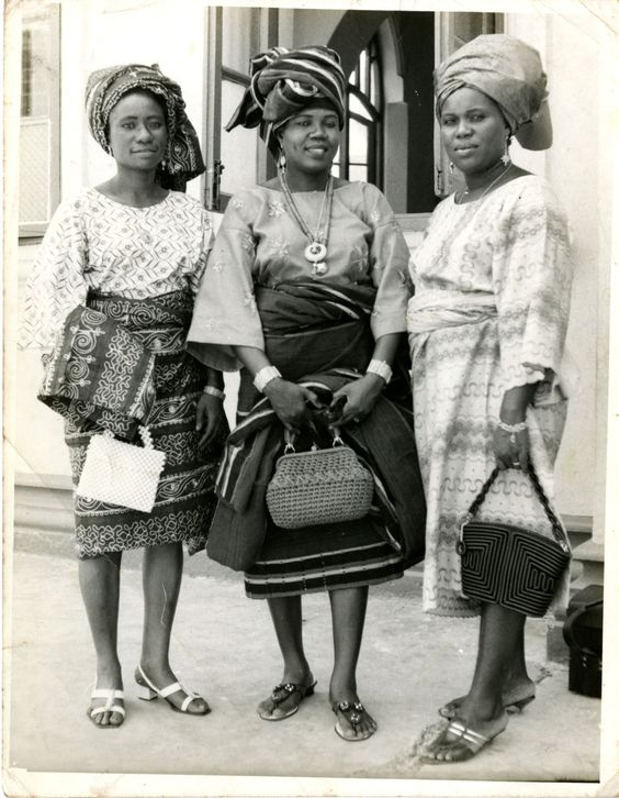Ladies wearing the latest fashion of the 70s.