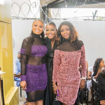 Designer flanked by her sisters Yetunde Ajibade Adeola Omotimirin