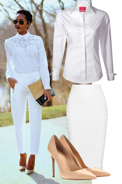 Candice, White Shirt, Pencil Skirt & Gianvito Rossi Nude Pumps