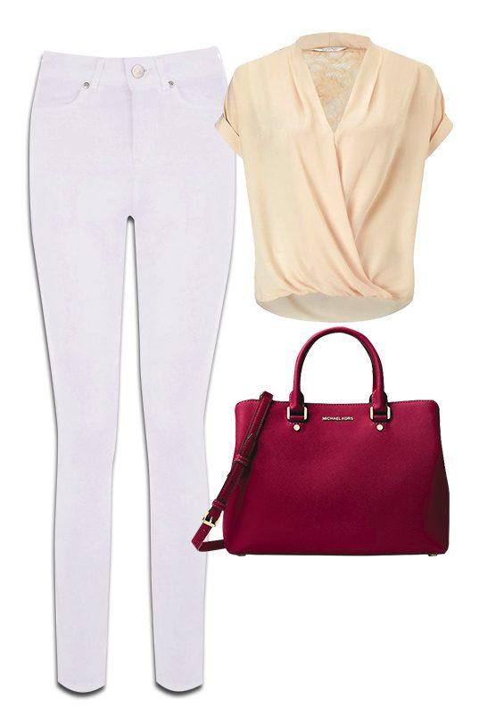 Oasis White Jeans,  Nude Blouse & Micheal Kors Handbag