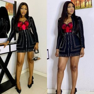 Look of the day: Ebube Nwagbo in embellished skirt suit