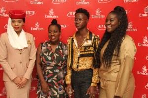L-R   Emirates Cabin Crew, Magdalene Odigie; Sisi Yemmie, a top Nigerian Food blogger/YouTuber; Social Media Influencer Aryee Caritas and Ekow Barnes a fashion writer/curator from Ghana, during Emirates Wine Tasting event held in Lagos.