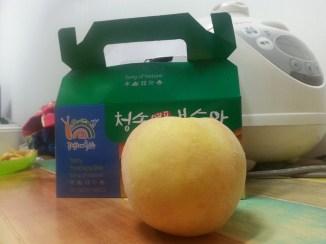 Buah peach yang sangat besar beli di Pulau Nami. So sedap!!