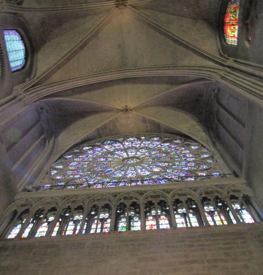 Notre Dame Cathedral South rose stained window and ceiling - photo by Lysandra Furstenberg
