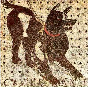 Pompeii -The House of the Tragic Poet - dog mosaic - source Wikipedia