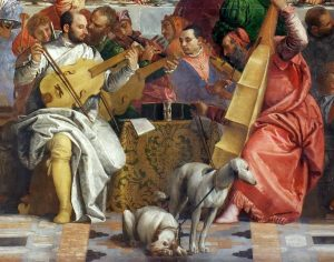 dog man art history, The Wedding Feast at Cana. Veronese in white, holding the viola and the two central dogs.