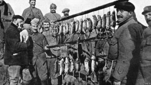 Soldiers living in trenches encountered millions of pests during war including rats They fed on rotting food bc there was no proper way of getting rid of rubbish in trenches A terrier dog shows off its catch after a 15 minute rat hunt -source BBC