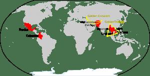 World Map Opium Heroin. Golden Triangle. Golden Crescent. Source Wikipedia