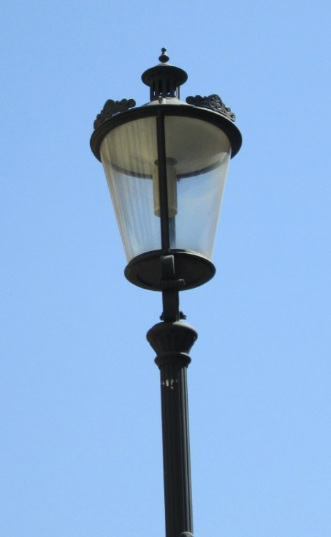 Close-up of street light in Lipscani area, Bucharest, Romania. Image by @PatFurstenberg