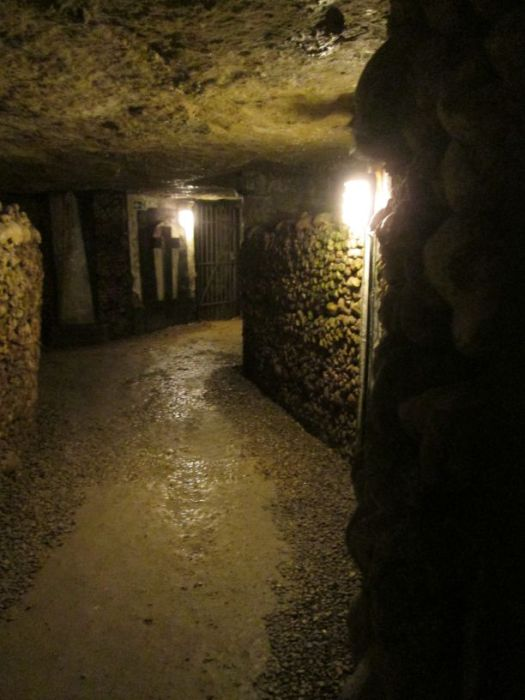 A cross in the Catacombs of Paris