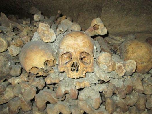 Skulls in the Parisian Catacombs