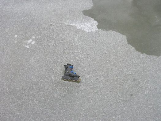 rollerblade on ice, snow, winter