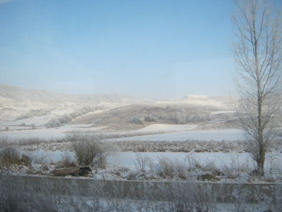 Train journey in winter