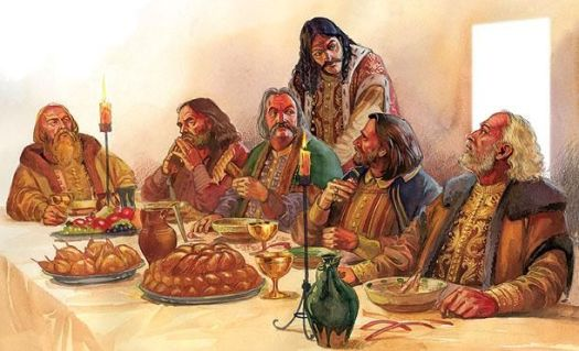 Vlad the Impaler and the boyars. Paharnic. vlad medieval feast blood