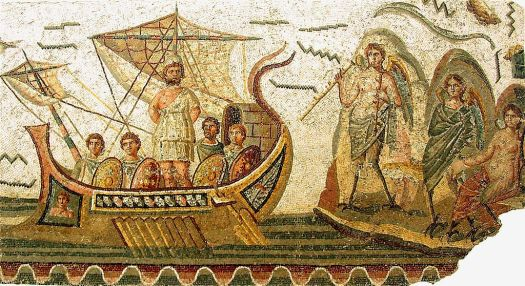 Odysseus and the Sirens, Roman mosaic, second century AD