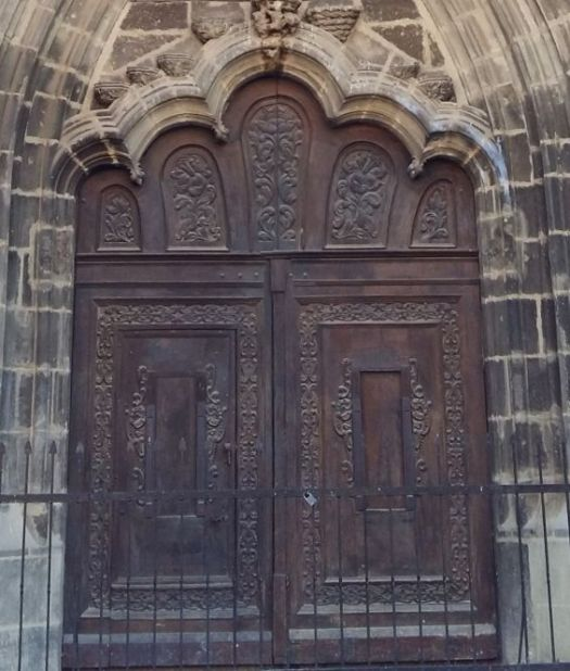 The carved doors of Black Church Golden Portal