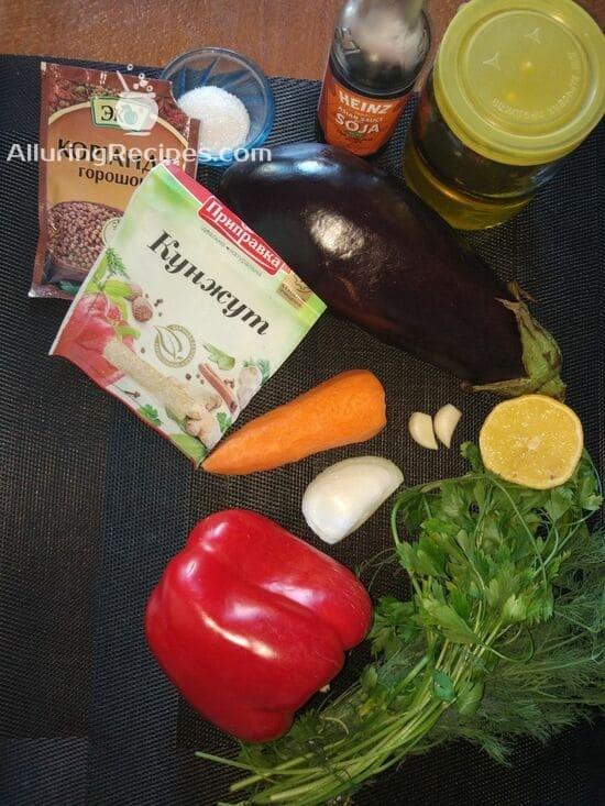Ингредиенты для салата по-корейски из баклажанов