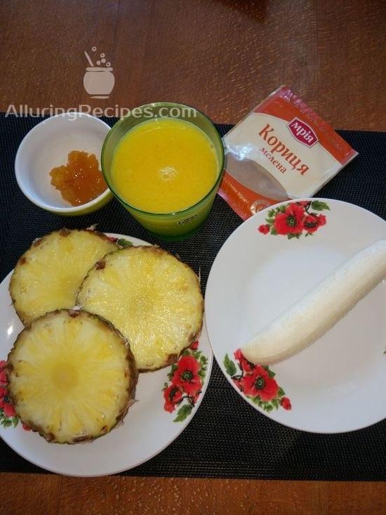 Ингредиенты  для смузи с ананасом и бананом