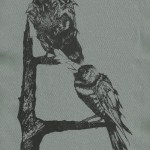 Birds Back Patch Black Ink on Grey Fabric