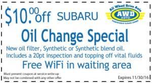 Subaru Oil Change Coupon