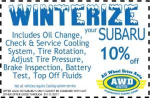 Subaru Winterize Service Coupon