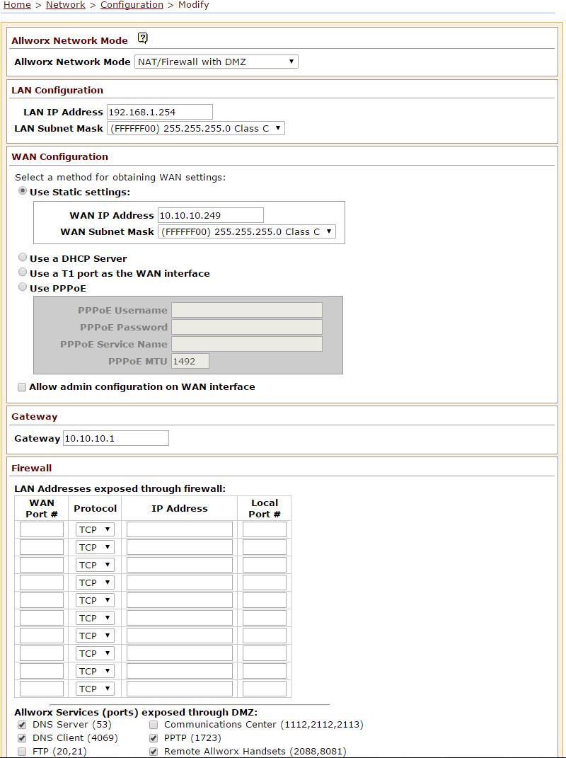 Allworx Network Mode